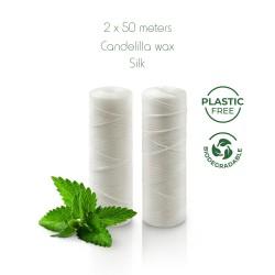 Ricarica filo interdentale plastic free in seta ahimsa (seta etica) - 2 rotoli