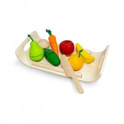 Set frutta e verdura da tagliare in legno rigenerato