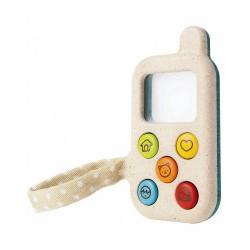 Primo telefono giocattolo in legno rigenerato