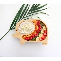 Piatto in bambù e silicone - Elefante