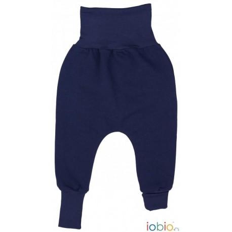 Pantaloni Joga felpati cotone bio GOTS IoBIO - Tinta unita blu 3-6 mesi