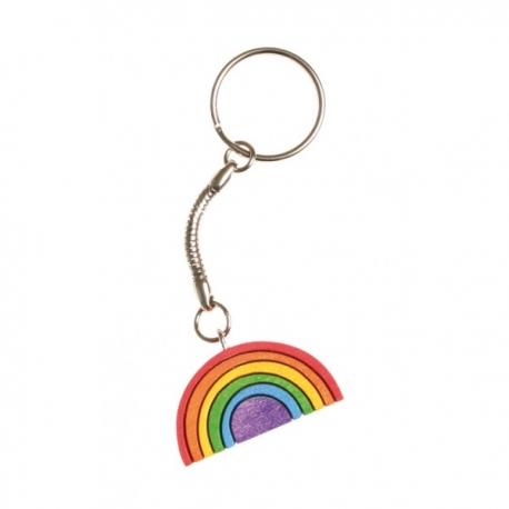 Portachiavi arcobaleno in legno