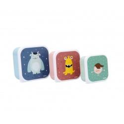 Pack tre scatoline snack Little monsters