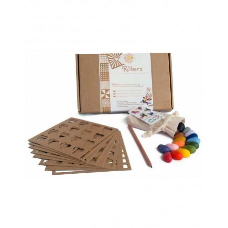 Scatola Rubeez Artbox 16 pezzi Crayon Rocks con stencil e matita