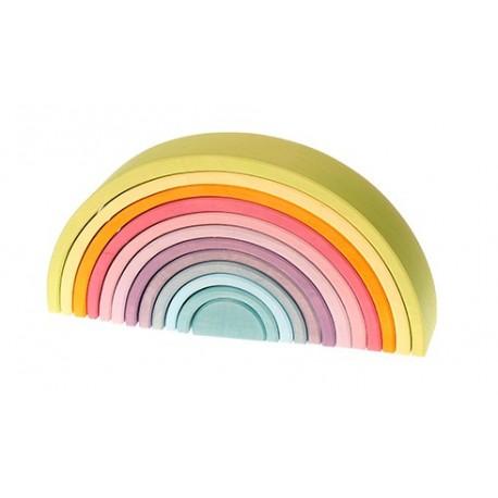 Arcobaleno in legno dai colori pastello - 12 pezzi Grimm's