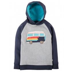 Felpa con cappuccio grigio/blu camper in cotone bio Frugi