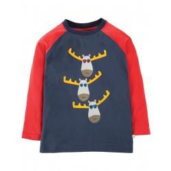 Maglietta maniche lunghe con stampa renne in cotone bio Frugi