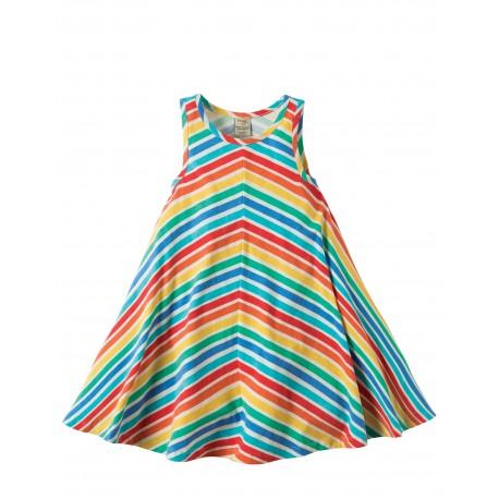 Vestitino Twirly Beach - Rainbow candy stripe - Frugi
