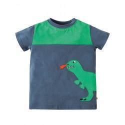 Maglietta Crantock Colour Block - Soft navy Dino - Frugi