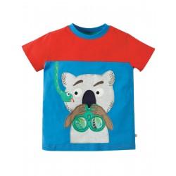 Maglietta Crantock Colour Block - Sail blue Koala - Frugi