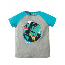 Maglietta Nancy Raglan - Grey marl World - Frugi