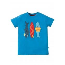 Maglietta Stanley Applique - Sail blue Sharks - Frugi