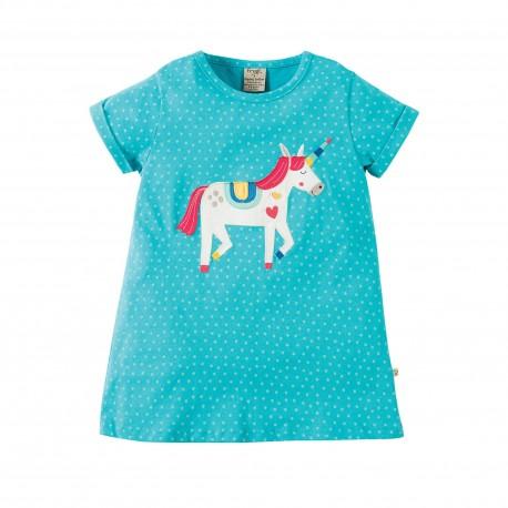 Maglietta Sophia Applique - Turquoise spot Unicorn - Frugi