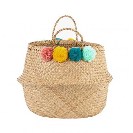 Belly Basket Pom Pom - cesta contenitore handmade e fairtrade