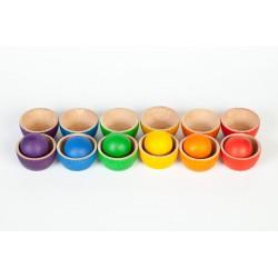 Ciotoline con biglie di legno - Grapat - gioco in legno