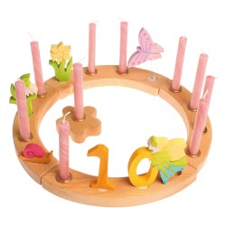 Cerchio di compleanno in legno naturale - 16 spazi