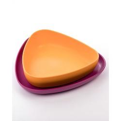 Set 2 piatti in bioplastica viola arancione 100% biodegradabile