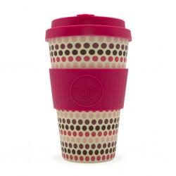 Ecoffee cup Pink Polka tazza riutilizzabile e biodegradabile 400ml