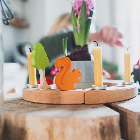 Cerchio di compleanno in legno naturale - 12 spazi
