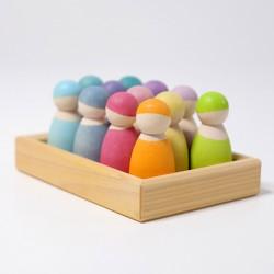 12 omini arcobaleno colori pastello in cornice di legno