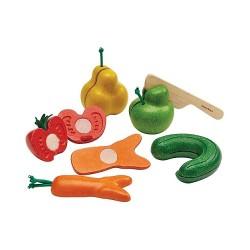 Set frutta e verdura imperfetta da tagliare in legno rigenerato