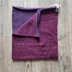 Scaldacollo  Ganzo 3 in 1 in lana rigenerata - Melanzana/Ciliegia
