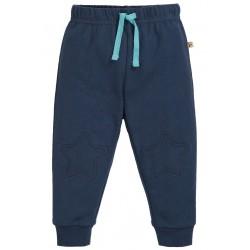 Pantaloni con toppe a stella Space blue in cotone bio Frugi