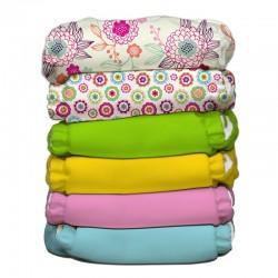 Kit da 6 pannolini lavabili pocket ibrido Charlie Banana - Dreamy Cotone bio