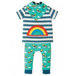 Completo maglietta pantalone bib Steely Blue Stripe Rainbow in cotone biologico