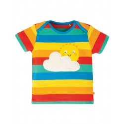 T-shirt Bobster applique - Rainbow Multistripe Sun - cotone bio Frugi