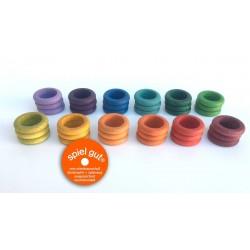 Mandala Grapat - 36 anelli in legno (12 colori)