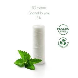 Filo interdentale plastic free in seta ahimsa (seta etica)